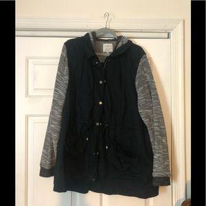 Torrid-black jacket with hood-size 3- anorak